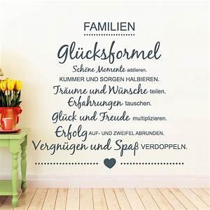 Wandtattoo Sprüche Familie : familien gl cksformel wandtattoo ~ Frokenaadalensverden.com Haus und Dekorationen
