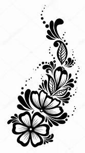 Verspielter Floraler Design Stil : sch ne florale element schwarz wei blumen und bl ttern gestaltungselement floral design ~ Watch28wear.com Haus und Dekorationen