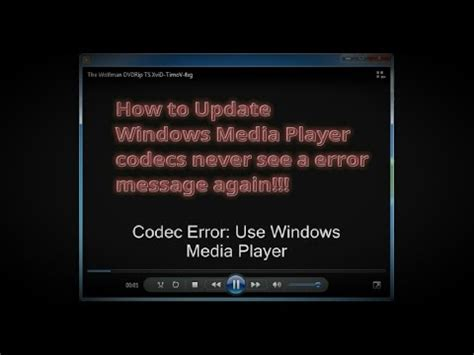 update windows media player codec pack youtube