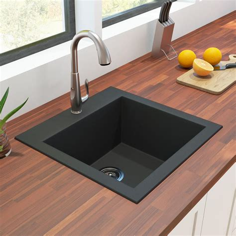 granite sink single bowl black plumbing artika