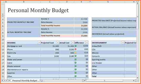 monthly expenses spreadsheet template excel