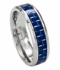 Stainless Steel Mens Wedding Rings Blue Carbon Inlay