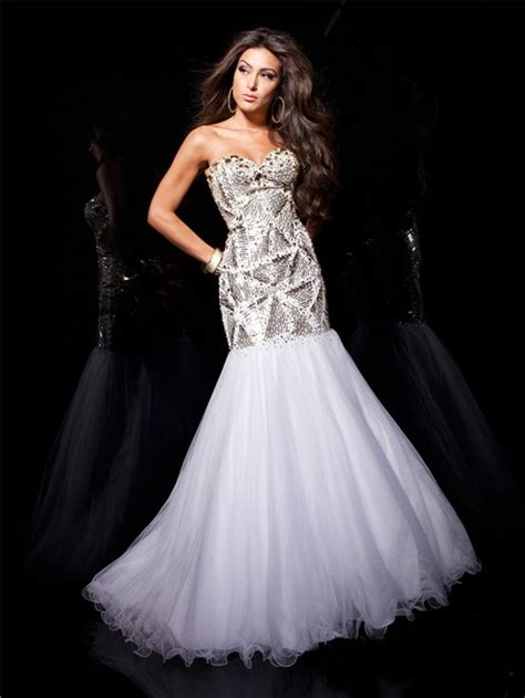 couture mermaid sweetheart long white tulle evening prom