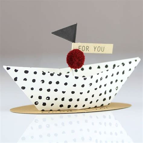 Origami Boat Decoration by Luck Origami Boat Greeting Decoration By Nest