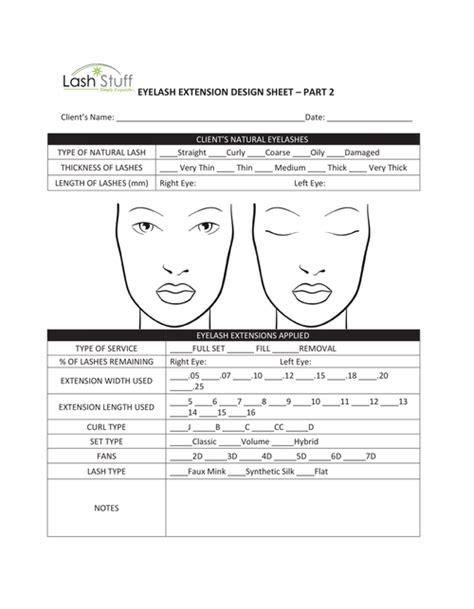 eyelash extension waiver form eyelash extension design sheet lash stuff
