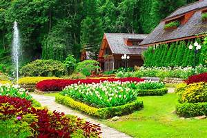 Houses with Beautiful Flower Gardens Full HD Wallpaper and ...