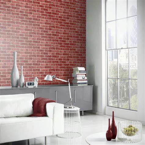 king wallpaper dinding 6 arthouse papel pintado efecto ladrillo en rojo 23006