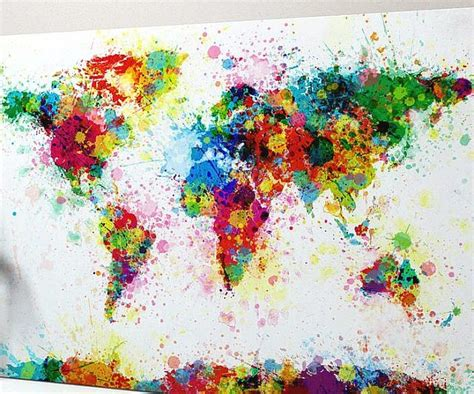 paint splatter map of the world artsy world map canvas