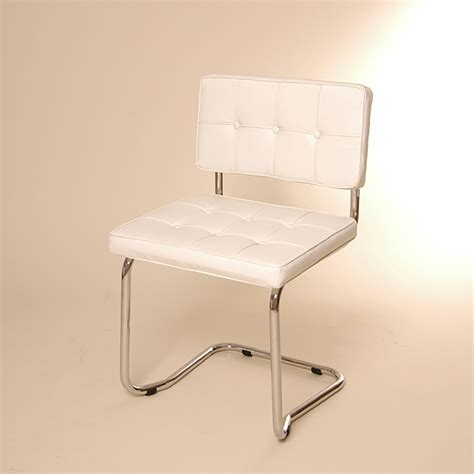 design cantilever chair white faux leather dining