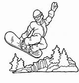 Coloring Snowboarding Sports Cool Popular sketch template