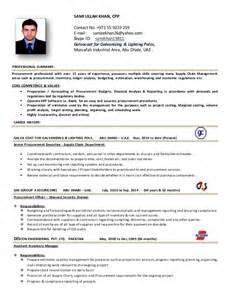 procurement officer resume sles procurement executive cv