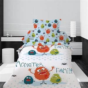 Housse De Couette Garcon 140x200 : housse de couette 1 personne monster family les douces ~ Teatrodelosmanantiales.com Idées de Décoration