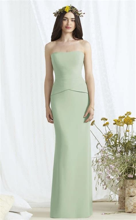 sage strapless charmeuse bridesmaid dress in mermaid long