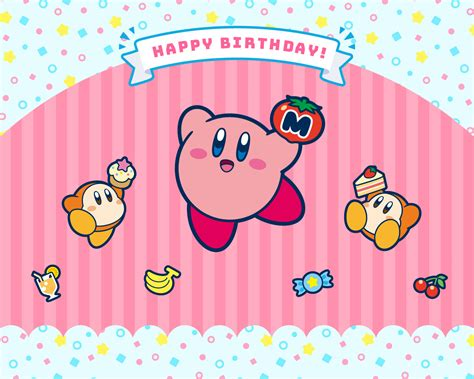 official kirby happy birthday wallpaper released