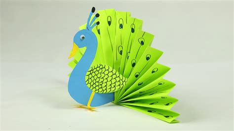 paper crafts  kids easy blue  neon peacock