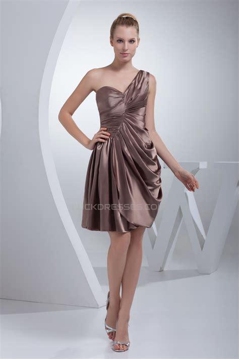elastic woven satin ruched  shoulder short bridesmaid