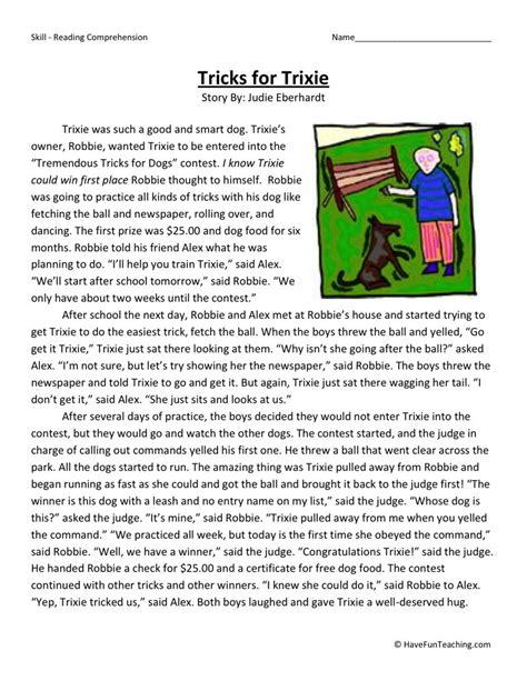 Reading Comprehension Worksheet  Tricks For Trixie