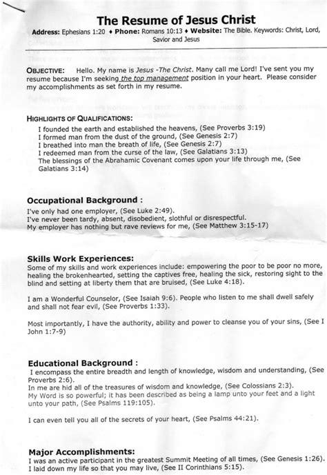 Jesus Curriculum Vitae by Jesus S Resume