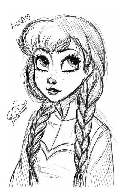 Frozen Drawing Deviantart Anna Elsa Draw Easy