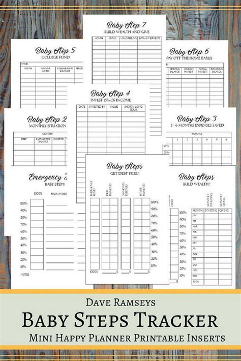 baby steps tracker printable planner pages   mini