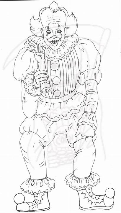 Coloring Pennywise Clown Creepy Halloween Sheets Drawing