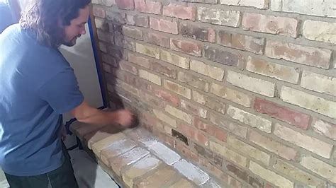 whitewash  brick fireplace youtube