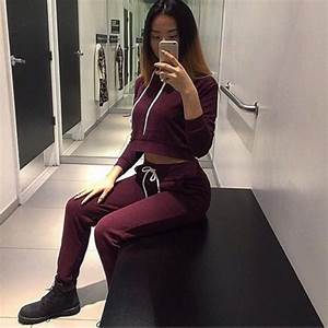 Shirt sweatpants sweats burgundy girl joggers hoodie cropped hoodie timberland boots ...