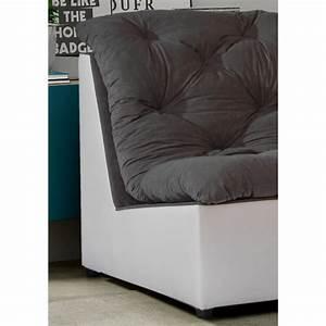 Canapé D Angle Modulable : canap d 39 angle modulable en tissu gris blanc daniela ~ Melissatoandfro.com Idées de Décoration