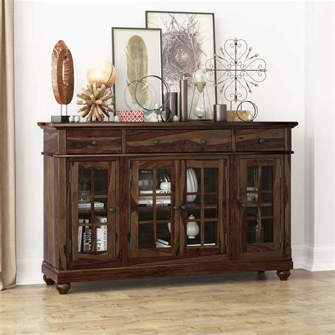 Sideboards With Glass Doors by Artois Rustic Solid Wood Glass Door 3 Drawer Large Sideboard