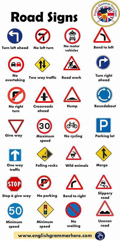 Traffic Signs Road English Vocabulary Learn Words