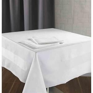 Serviette De Table Blanche : nappe satin bande satin blanche 215g m 100 coton 140x190 cm ~ Teatrodelosmanantiales.com Idées de Décoration