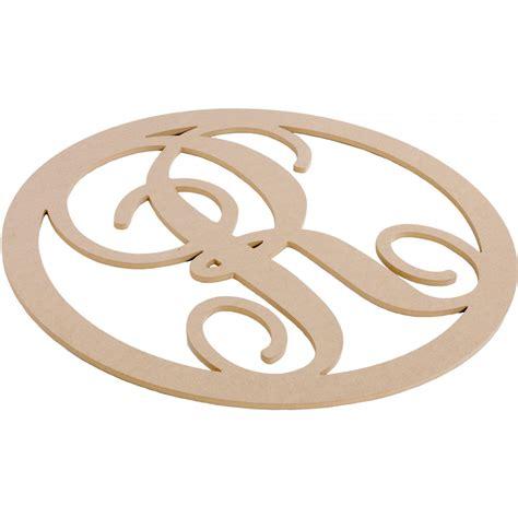 script circle monogram wooden letter  ab craftoutletcom