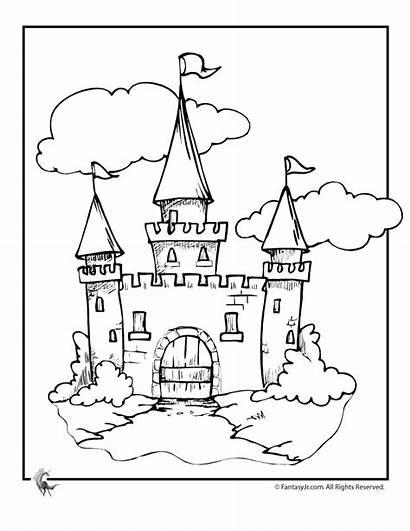 Castle Cinderella Coloring Pages Disney Drawing Printable