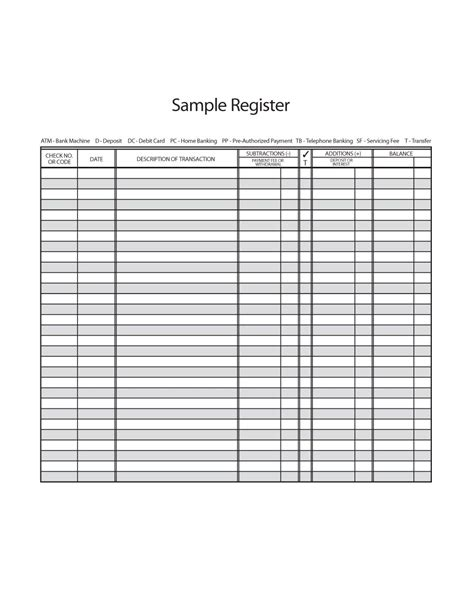 Checkbook Register Template 37 Checkbook Register Templates 100 Free Printable