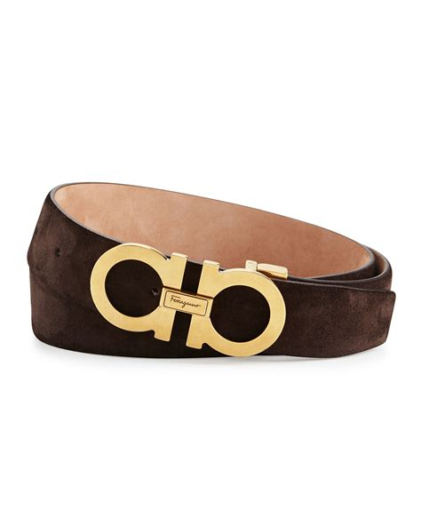 new feragamo ferragamo gancini suede belt in brown lyst