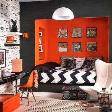 chambre contemporaine ado du orange et du noir pour une déco chambre d 39 ado fille