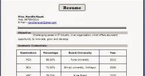 resume format for be freshers student fresher resume format for mca student