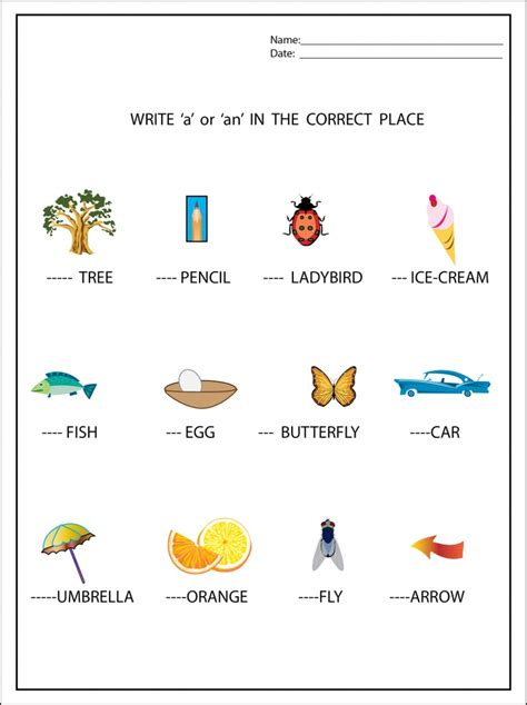a and an worksheets for preschool write a or an worksheet with graphics free
