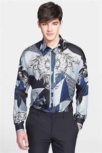 Lyst - Versace Baroque & Star Printed Long-sleeve Silk ...