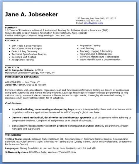 Tester Resume Format by Qa Software Tester Resume Sle Entry Level Resume Downloads