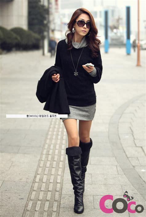 Black Long Sleeves Fall/Winter Collection Korean Fashion Dress   Fashion   Pinterest   Korean ...