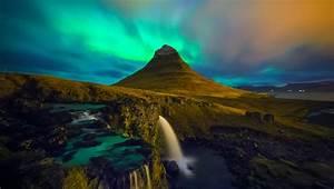 Waterfall, Iceland, Aurora Borealis, Kirkjufell Wallpaper ...