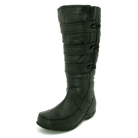 womens black wide calf toggle knee high flat boots