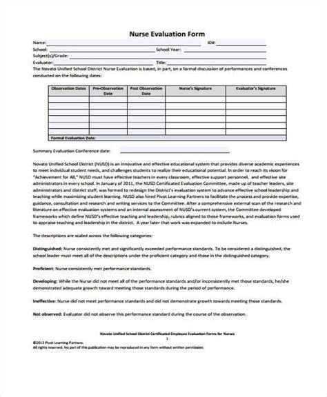 nurse evaluation forms   ms word