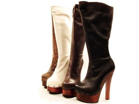 Soca Candy Tall High Heel Wood Platform Leather Boots