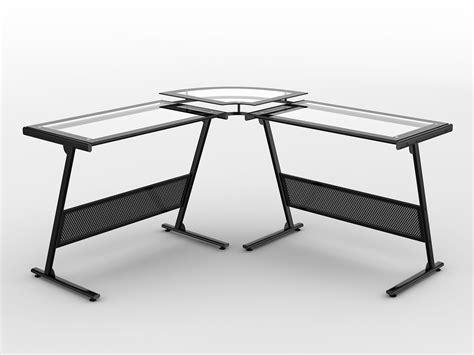 z line belaire glass top corner computer desk black