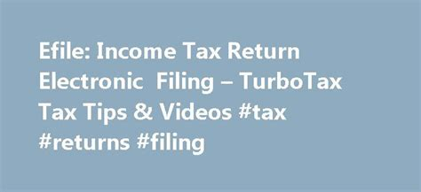 Efile Income Tax Return Electronic Filing Turbotax Tax