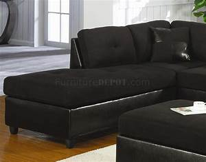 Microfiber faux leather contemporary sectional sofa for Black sectional sofa