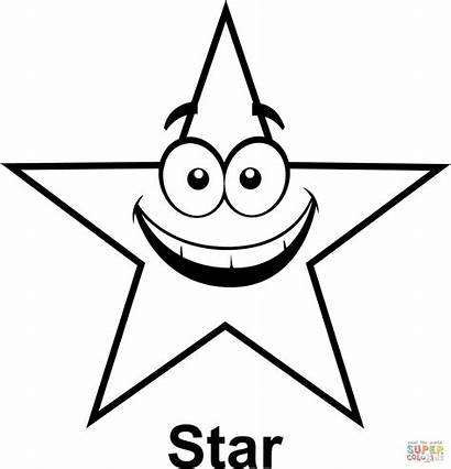 Cartoon Coloring Stars Face Printable Outline Clip