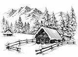 Cabin Winter Drawing Mountains Sketch Illustration Mountain Drawings Line Landscape Forest Pencil Clipart Christmas Snowy Snow Dreamstime Vector Scene Danussa sketch template